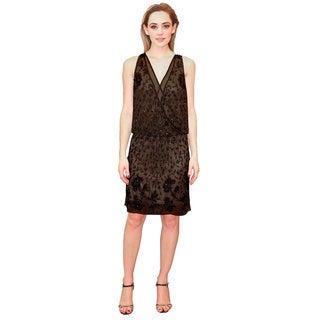 Lotus Threads Women's Black Nylon Sleeveless Beaded Short Dress