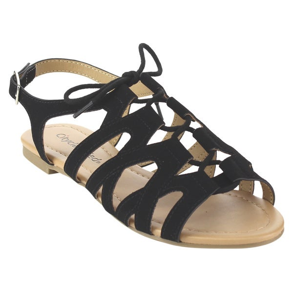 CityClassified Women's IB21 Nubuck Leather Gladiator Sandals