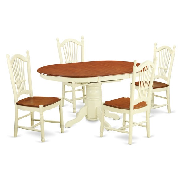 5-piece Two-tone Cherry/Cream Dining Table Set