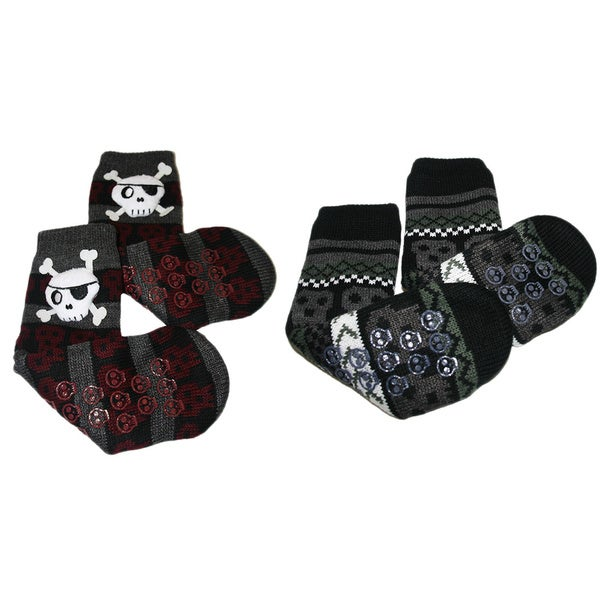 MinxNY Kids' Nonskid Skull Slipper Socks (2 Pair Bundle)