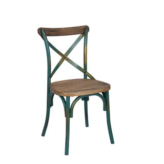 Zaire Antique Turqoise and Walnut Side Chair