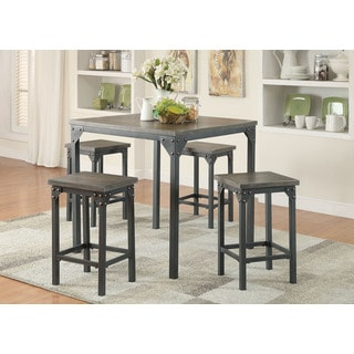 Percie Black MDF, Metal 5-piece Counter Height Dining Set