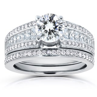 Annello 14k White Gold Certified 1 7/8ct TDW Round Diamond Bridal Set (G-H, I1-I2)