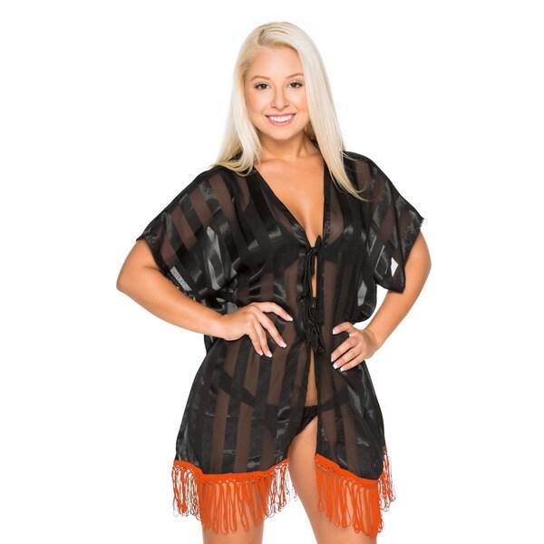 La Leela Bikini Cover up Women's Sheer Lightweight Kimono Beachwear Cardigan Shrug Bikini Swimsuit Top