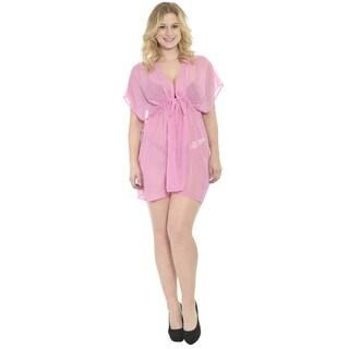 La Leela Women's Pink Chiffon 5-in-1 Sheer Beachwear Plus Size Swimwear Lounge Evening Bathing Suit Kaftan Pool Bikini Cover Up