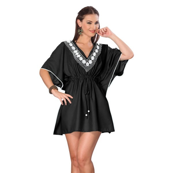 La Leela Black SOFT RAYON Embroidered Beachwear Robe Tunic Dress Bikini Cover up