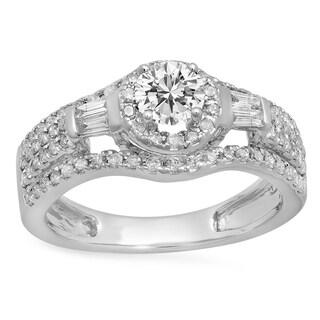 14k Gold 7/8ct TDW Round and Baguette White Diamond Halo Style Bridal Engagement Ring (I-J, I1-I2)