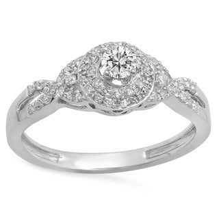 14k Gold 3/8ct TDW Round White Diamond Halo Style Bridal Engagement Ring (I-J, I1-I2)