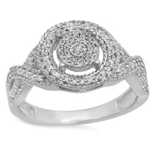 Sterling Silver 1/3ct TDW Round White Diamond Micro Pave Engagement Ring (I-J, I2-I3)