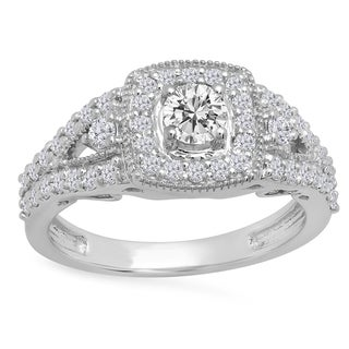 14k Gold 1ct TDW Round-cut White Diamond Bridal Split Shank Halo Style Engagement Ring (I-J, I1-I2)