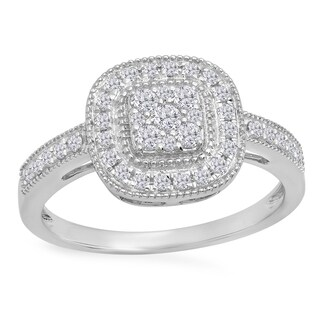 14k Gold 1/2ct TDW Round-cut White Diamond Cluster Style Milgrain Bridals Engagement Ring (I-J, I1-I2)