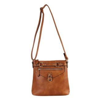 Diophy Casual Front Lock Dual Compartment Crossbody Handbag