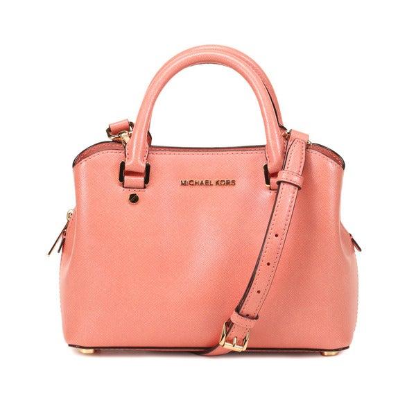 Michel Kors Peach Savannah Small Satchel Handbag