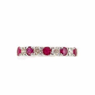 Kabella 14k White Gold Red Ruby with Diamond Accent Band Ring