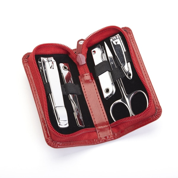 Royce Leather Executive Red Leather Chrome Plated Mini Manicure Kit