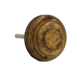Glossy Brown Wood Round Knobs Pulls (Pack of 6)