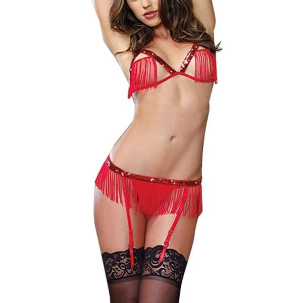 Zodaca Women's Lingerie Red Tassel Bra Top and G-String Panty Garter Leggings Set