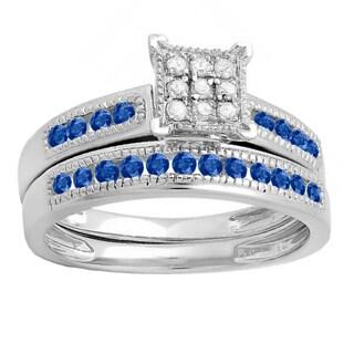 Sterling Silver 1/2 ct. Round Blue Sapphire, White Diamond Ladies' Engagement Bridal Matching Wedding Band (I-J & Blue, I2-I3)