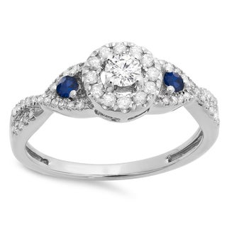 14k Gold Blue Sapphire, White Diamond Vintage Bridal Engagement Ring