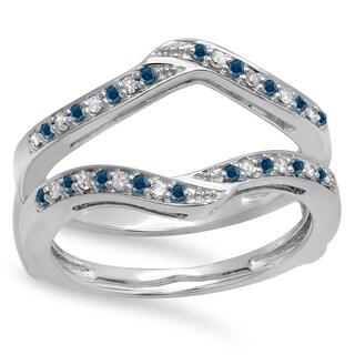 14k Gold 1/3ct TDW Round Blue and White Diamond Anniversary Wedding Band Enhancer Guard Double Ring (H-I, I1-I2)