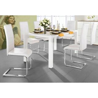 Scandinavian Lifestyle Spring White/Black MDF/Chrome/Faux Leather 5-piece Dining Set