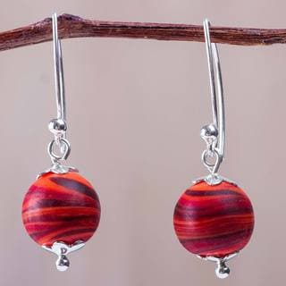 Handcrafted Sterling Silver Blown Glass 'Crimson Whirlwind' Earrings (Peru)