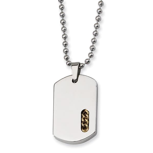 Versil Stainless Steel Yellow 22-inch Dog Tag Necklace