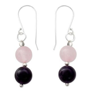 Handcrafted Sterling Silver 'Dreamy Affair' Amethyst Rose Quartz Earrings (India)