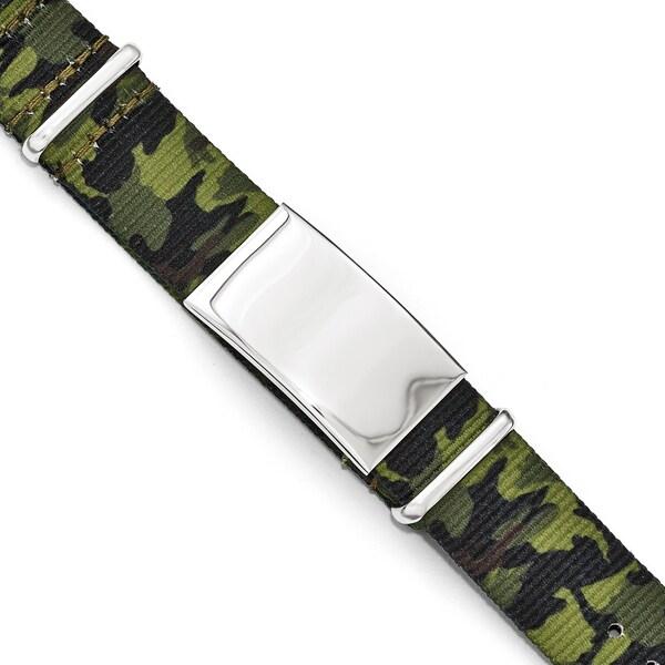 Versil Chisel Stainless Steel Green Camo Fabric Adjustable ID Bracelet