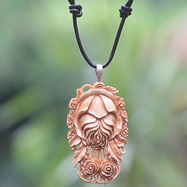 Handcrafted Bone Leather 'Antique Rose' Flower Necklace (Indonesia)