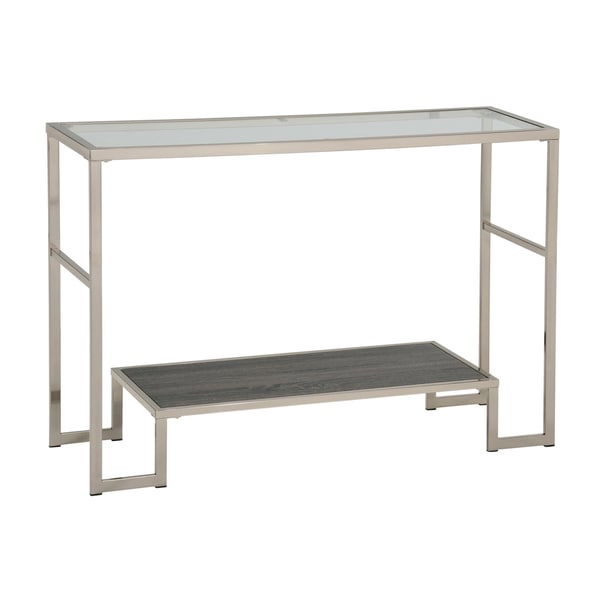Atticus Chrome Glass 2-tier Console Table