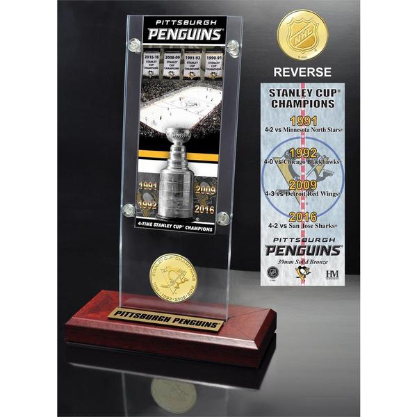 "Pittsburgh Penguins ""4-time Stanley Cup Champions"" Ticket & Bronze Coin Acrylic Desk Top 19258310"