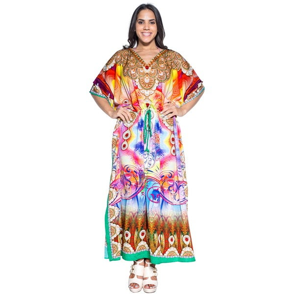 La Leela Soft Likre Digital Artistic Kimono Long Summer Dress Kaftan Maxi Yellow