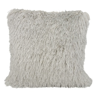 Mina Victory Shag Yarn Shimmer Light Grey Throw Pillow by Nourison (20 x 20-inch)