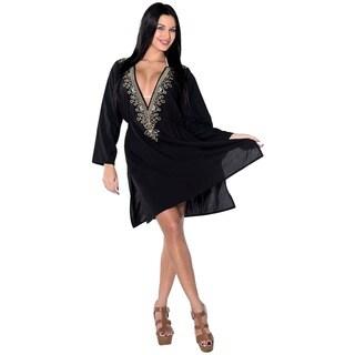 La Leela Women's Black Rayon Regular-size Deep-V Neck Embroidered Short Dress or Bikini/Swimsuit Cover-up