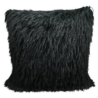 Mina Victory Shag Yarn Shimmer Black Throw Pillow by Nourison (20 x 20-inch)