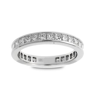 Azaro Jewelry 14k White Gold 1 1/2ct TDW Princess-cut Diamond Eternity Wedding Band (G-H, SI1-SI2)