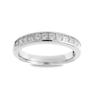 Azaro Jewelry 14k White Gold 3/4ct TDW Princess-cut Diamond Halfway Wedding Band (G-H, SI1-SI2)