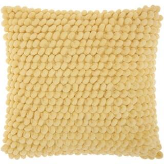 Mina Victory Shag Loop Pom Pom Yellow Throw Pillow by Nourison (17 x 17-inch)