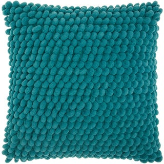 Mina Victory Shag Loop Pom Pom Teal Throw Pillow by Nourison (17 x 17-inch)