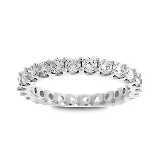 Azaro Jewelry 14k White Gold 1 1/2ct TDW Round Diamond Eternity Wedding Band (G-H, SI1-SI2)