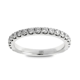 Azaro Jewelry 14k White Gold 1ct TDW Round Diamond Eternity Wedding Band (G-H, SI1-SI2)