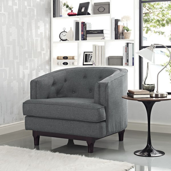 Modway Coast Mid-Century Grey or Off-White Upholstered Armchair with Walnut Rubberwood Legs