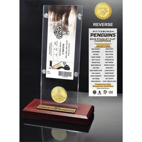 2016 Stanley Cup Champions Ticket & Bronze Coin Acrylic Desk Top