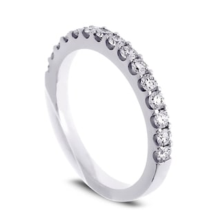 Azaro Jewelry 14k White Gold 1/2ct TDW Round Diamond Halfway Wedding Band (G-H, SI1-SI2)
