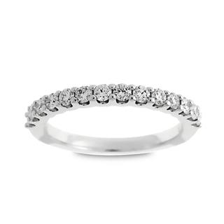 Azaro Jewelry 14k White Gold 1/2ct TDW Round Diamond Halfway Wedding Band (G-H, SI1-SI2)
