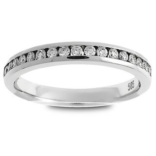 Azaro Platinum 1/4ct TDW Round Diamond Halfway Wedding Band (G-H, SI1-SI2)