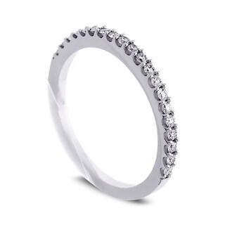 Azaro Jewelry 14k White Gold 1/4ct TDW Round Diamond Halfway Wedding Band (G-H, SI1-SI2)