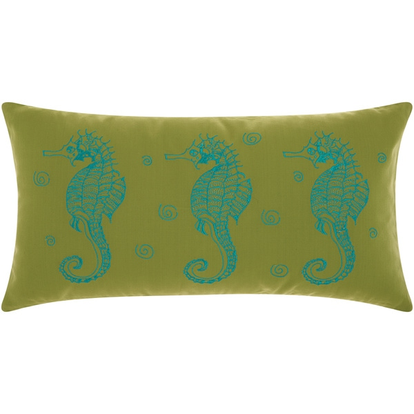 Mina Victory Outdoor Three Seahorses Green/ Turquoise Throw Pillow by Nourison (12 x 22-inch)