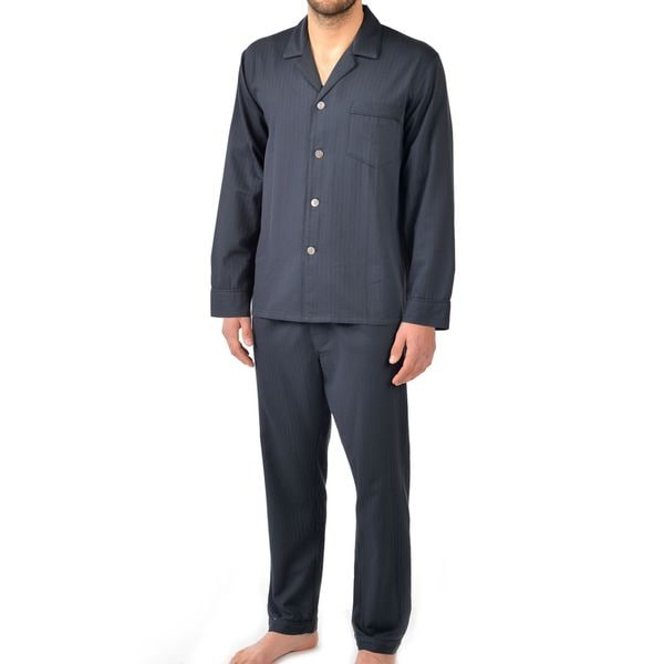 Majestic Men's Signature Herringbone Long Sleeve Cotton Pajama Set X-Large Size in Black (As Is Item)